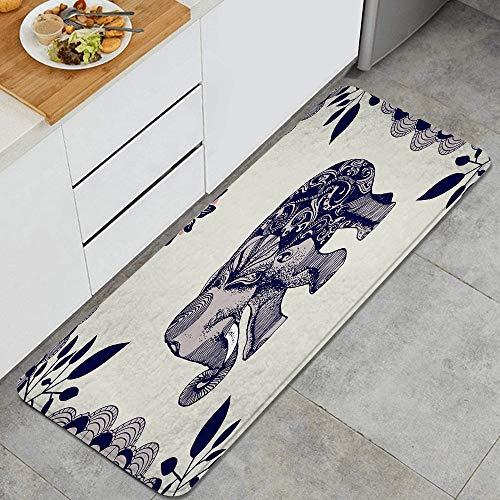 BohoMonos Alfombra de Cocina,Mandala Elefante, Alfombra Antideslizante con Respaldo para Alfombra de Cocina, tapete, tapete, 47.2 x 17.7 Pulgadas