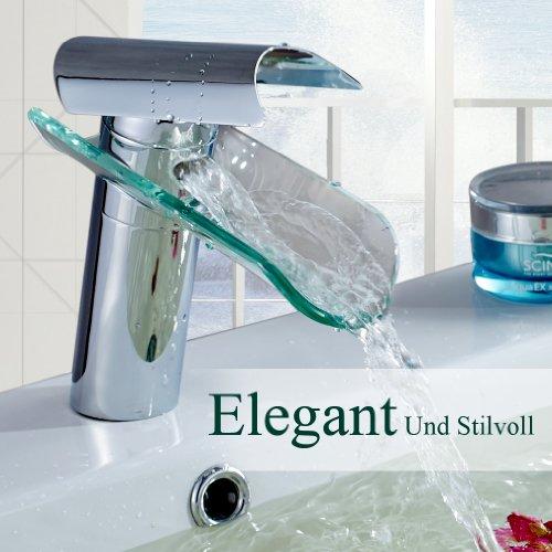 Auralum Wasserhahn Glas Spüle Waschtisch Waschtischarmatur Armatur für Bad - 8