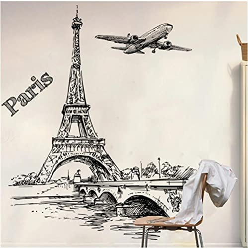 Torre romántica avión pegatina para sala de estar dormitorio restaurante TV sofá decoración de fondo ventana calcomanías de pared decoración del hogar cartel de arte 55x 55cm