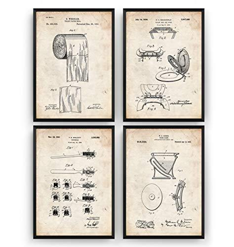 Bathroom Patent Posters - Set Of 4 - Vintage Toilet Print Art Blueprint - Frame Not Included