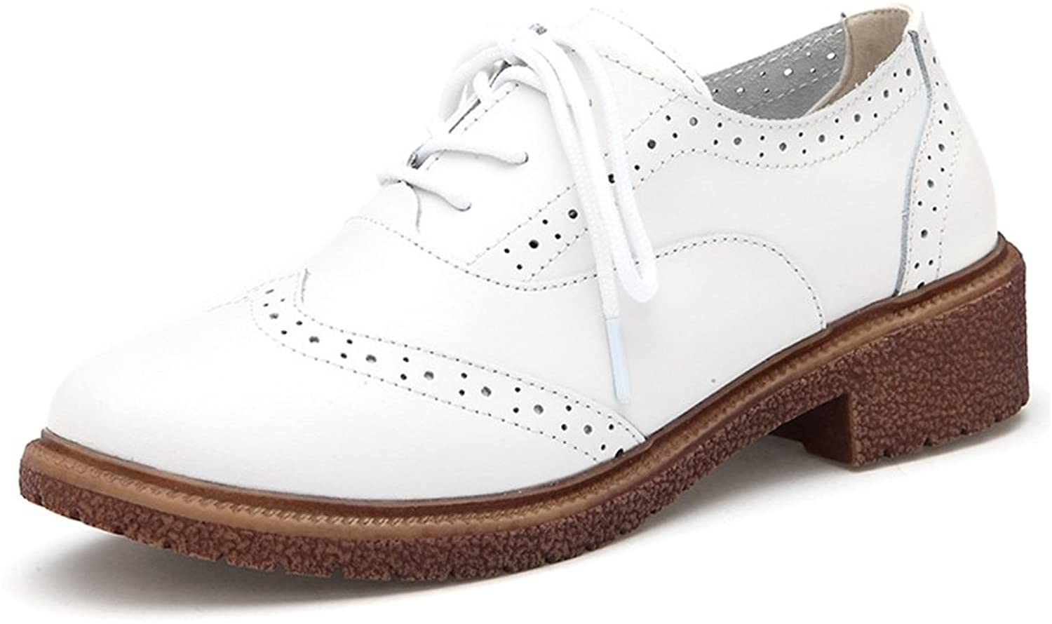 T-JULY Women's Western Oxfords shoes - Breathable Perforated Low Wedge Round Toe shoes