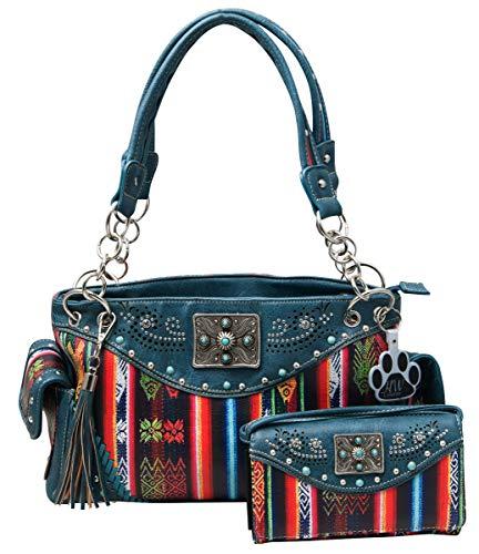 HW Collection Southwestern Handtasche gestreift Serape Fransen Carry Conceal Geldbörse Set, Blau (blaugrün), Large