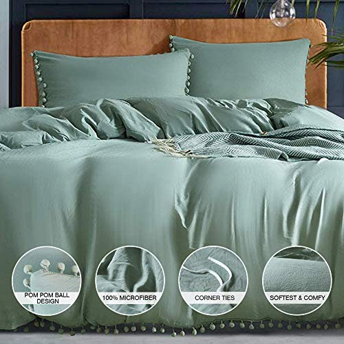 AUTOOK Pom Poms 3 Piece Duvet Cover Set (1 Duvet Cover + 2 Pillowcases) Stone-Washed Brushed Luxury 100% Super Soft Microfiber Bedding Collection (Sage/Dark Sea Green, Queen)