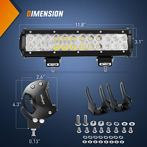 Nilight Led Light Bar 12 Inch 72W Spot Flood Combo With Off Road Wiring Harness, 2 years Warranty
