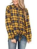 Remidoo Women's Long Sleeve Tie Knot Collared Button Down Plaid Flannel Shirt Yellow X-Large