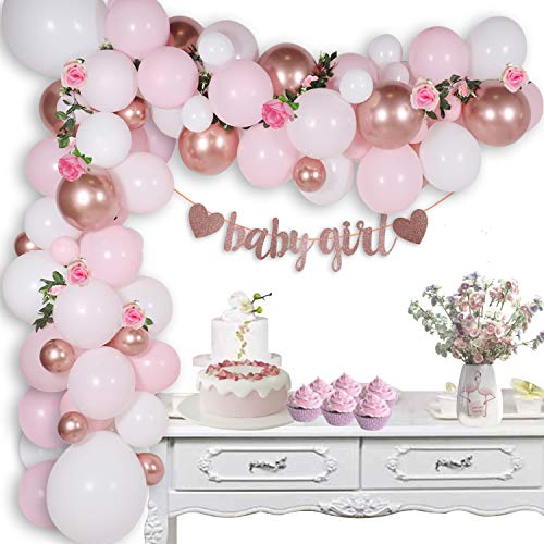 JSN PARTY Baby Shower Decorations for Girl with Pink and Rose Gold Balloon Garland Arch Kit, Baby Girl Banner, Artificial Rose Vine Flower Garland, Balloon Flower Clips