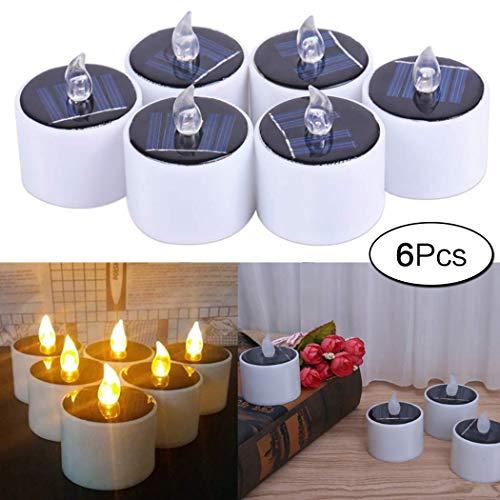 aoory LED Kerzen 6 Stück Solar Kerzen Außen Interior Solar Teelichter Wasserdicht Flammenlose Nachtlicht für Partei Hochzeit Festival