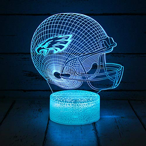 Bigfoot 3D LED Night Light Football Helmet, Philadelphia Eagles, Flat Acrylic Optical Illusion Lighting Lamp with 7 Colors and Touch Sensor, Sports Fan Nightlight Gift for Boys, Girls, Men or Women