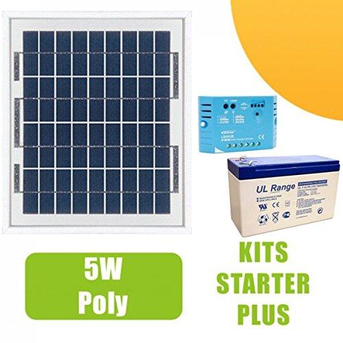 Kit panneau solaire 5W 12V avec régulateur 5A et batterie