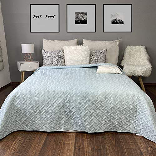 HOMELEVEL Tagesdecke Bett und Sofaüberwurf Bettüberwurf Sofa Tages Flechtmuster Decken Betthusse XXL Decke Überwurf Überdecke Mint 200cm x 220cm