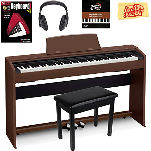Casio Privia PX-770 Digital Piano - Black Bundle with Furniture Bench, Instructional Book, Austin...