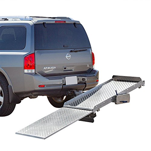 "Tilt-A-Rack Premium Aluminum Scooter and Wheelchair Carrier, 350 lb. Weight Capacity, Platform Measures 52"" L x 27-5/8"" W, Integrated Hitch Adapter for Class III or IV 2"" Hitches -  Discount Ramps, TWSC-350"