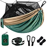 Single Double Camping Hammock with Mosquito/Beetle Net, Portable 210T Nylon Hammock with 10 Foot Hammock Tree Straps, 17 Loops and Easy to Assemble for Camping, Backpacking, Travel