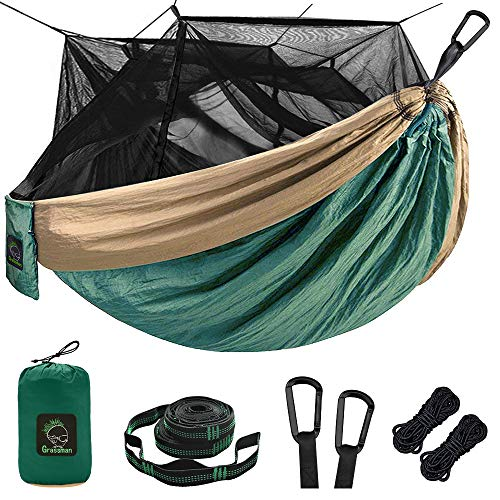 Single & Double Camping Hammock with Mosquito/Bug Net, Portable Parachute Nylon Hammock with 10ft Hammock Tree Straps 17 Loops and Easy Assembly Carabiners, for Camping, Backpacking, Travel, Hiking
