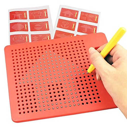Hisoul Magnetic Ball Drawing Board, 19 x 20 Lattice Design Portable Steel Ball Writ Paint with Magnetic Stylus, Best Gifts for Children and Friends (red)