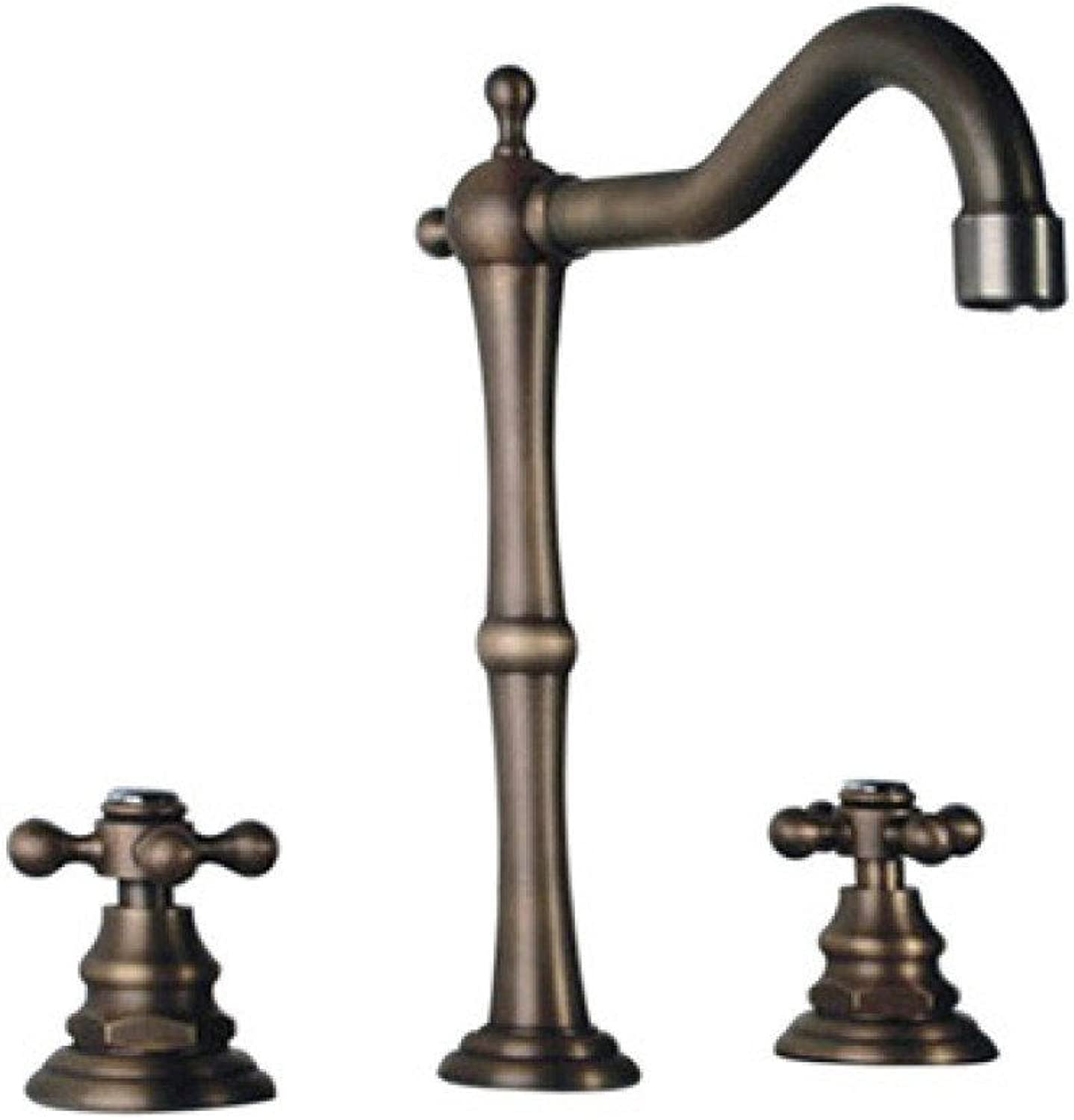 YIHANG @ All Copper Three Holes Split Hot And Cold Mixed Water Valve Basin Faucet,Bronze