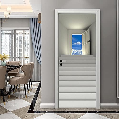 Pegatinas de Puerta en 3D 95x215cm DIY Autoadhesivo Puertas Mural Etiqueta Papel Tapiz para el Dormitorio Sala de Baño Cocina Calcomanía de la Puerta Pared - Escalera,Cielo Azul