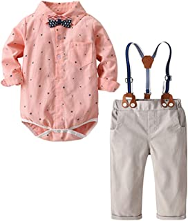 Baby Boys Dinosaur Long Sleeve Shirt Gentleman Suspender Pants Clothing Set Overalls Romper Jumpsuit Clothes Toddler Outfit