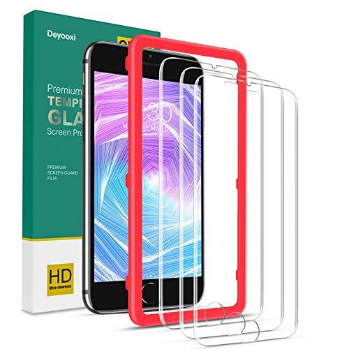 Deyooxi 3 Pezzi Vetro Temperato per iPhone SE 2020/iPhone 7/iPhone 8/iPhone 6S/iPhone 6,Pellicola Protettiva in Vetro Temperato Screen Protector Film,Protezione Schermo con Cornice di Allineamento