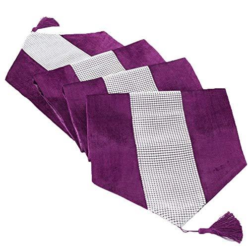 Deggodech Luxus Samt stilvolle atmosphäre minimalistischen modernen Diamanten Tischläufer/Tischdecke Couchtisch Tuch und Zwei Quasten (32 x 185 cm) (Lila)