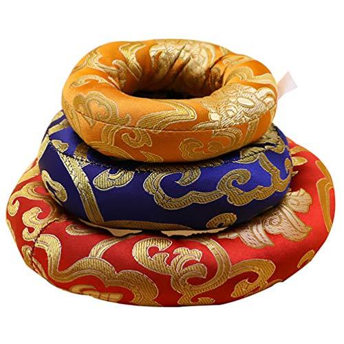 Exceart - Cuenco tibetano con forma de cuenco tibetano y cuenco cantante, anillo budista, almohada budista, instrumentos rituales, accesorios, color aleatorio 8/10/12 cm