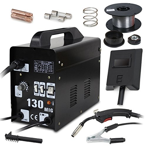 Super Deal PRO Commercial MIG 130 AC Flux Core Wire Automatic Feed Welder Welding Machine w/Free Mask 110V