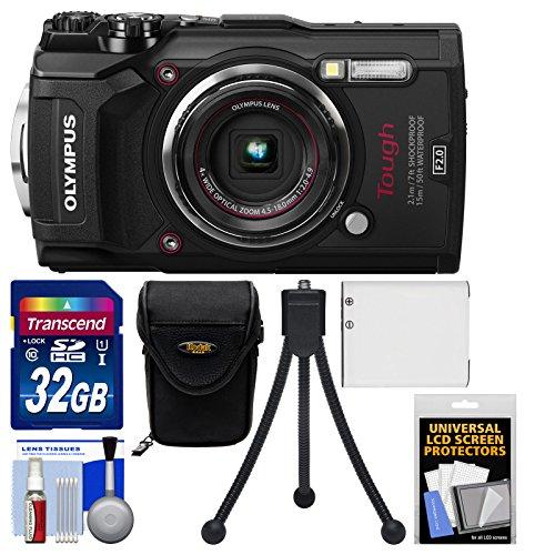 Olympus Tough tg-54K WIFI GPS Shock & cámara digital resistente al agua (Negro) con tarjeta de 32GB + Case + Batería + Flex...