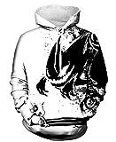 Indrah Mens Pullover Hoodie Galaxy Pockets 3D Printed Hooded Sweatshirts White/Black