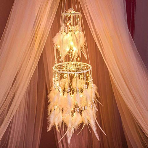 HitTopss Light Up Dream Catcher Decoration Warm White Bedroom Accessory with Warm LED String Lights Hanging Dream Catcher Present for Christmas Birthday (Warm Light)