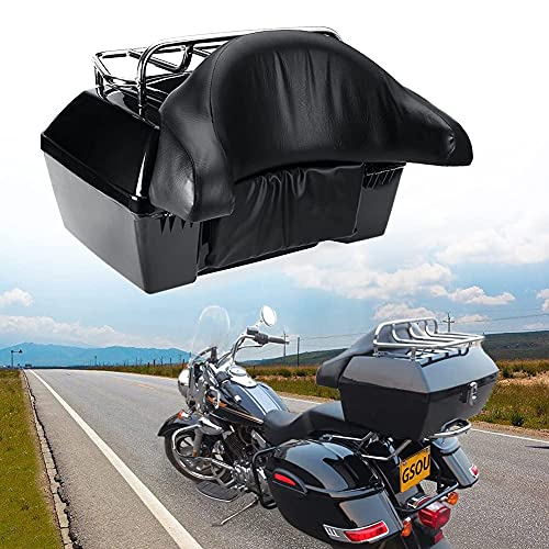 Black Motorcycle Luggage Tour Trunk Tail Box Compatible Fit for Harley Honda Yamaha Suzuki Cruiser Motorcycle w/ Top Rack Backrest Trunk Tour Pack