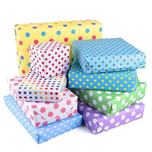 PLULON 18 Gefaltete Blätter Geschenkpapier Kinder Geburtstag, Punkte, Herzen, Streifen Buntes Geschenkpapier