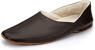Samuel Windsor Men's Churchill Handmade Nappa Leather Fleece Lined Grecian Slippers in Black, Brown and Navy Blue.