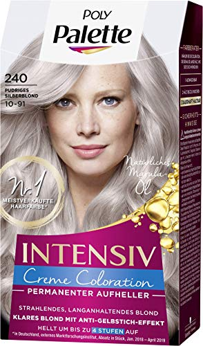 SCHWARZKOPF POLY PALETTE Intensiv Creme Coloration 240/10-91 Pudriges Silberblond, 3er Pack (3 x 128 ml)