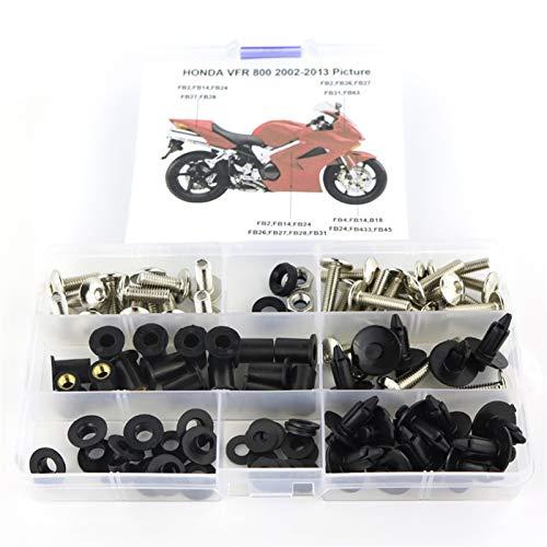 CHENJUAN Geeignet for Honda VFR 800 VFR800 2002-2013 Motorrad Cowling kompletter voller Verkleidung Schrauben Kit Clips Nut Schrauben Stahl Motorradschrauben (Color : Silver)