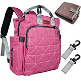 Diaper Bag Backpack, Tebio Large Capacity Waterproof Travel Backpack Nappy Bags with Stroller Straps, Independent Wet Cloth Bag, Gifts for Dad, Mom-Rosy