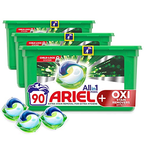 Ariel All-in-1 Pods Washing Liquid Laundry Detergent Tablets/Capsules, 90 Washes (30 x 3) with OXI Stain Removers Effect