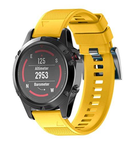 SHOBDW Garmin Fenix 5 Armband, Ersatz Silicagel Soft Band Strap Für Garmin Fenix 5 GPS Uhr (Gelb, 220MM)