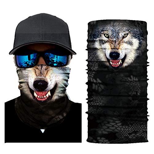 Josopa 3D Animal Print Naadloze Sjaal Bandana Neck Gaiter Gezicht Masker Hoofd Wikkel Bandana Magic Sjaal voor Outdoor Fietsen Vissen Camping Wandelen Ac011