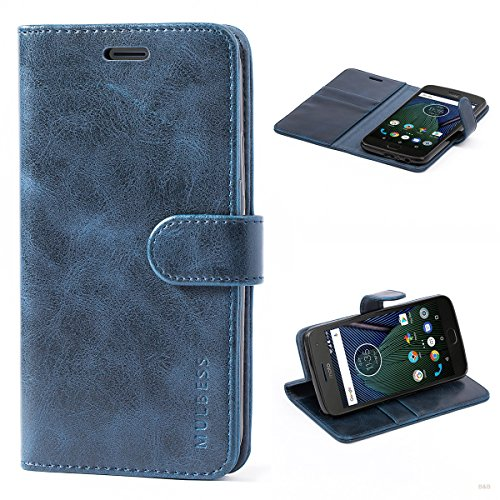 Mulbess Cover per Motorola Moto G5 Plus, Custodia Pelle con Magnetica per Motorola Moto G5 Plus [Vinatge Case], Blu Navy