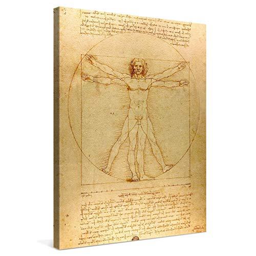 PICANOVA – Leonardo da Vinci – Vitruvian Man 60x80cm – Cuadro sobre Lienzo – Impresión En Lienzo Montado sobre Marco De Madera (2cm) – Disponible En Varios Tamaños – Colección Arte Clásico