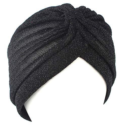 Indian Style Thin Hijab Turban Fashion Women Bandana Stretchable Soft Bright Hat Indian Hats Head Wraps Scarf Black