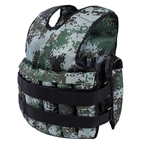 Kusou Camouflage Weighted Vest Jacket Adjustable Weight Workout Exercise Strength Training Equipment Running Pull-Ups Weight Lifting Gym Fitness for Men, Women, Kids