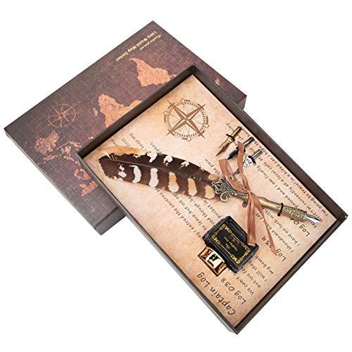 Pluma Pluma y juego de tinta Juego de papelería fresco Útiles escolares para regalo de Navidad