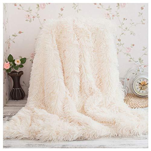 Arkey Zotteldecke aus Kunstfell, weich, lang, warm, elegant, gemütlich, flauschig, als Tagesdecke geeignet, Fleece, weiß, 200 x 230 cm