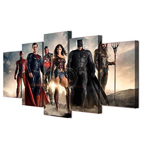 DJxqJ 5 Cuadro sobre Lienzo Lienzo Pinturas para el hogar Arte de la Pared 5 Piezas Carteles de películas Sala de Estar HD Impreso Wonder Woman Pictures