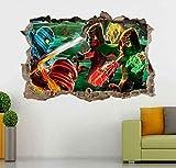 WARMBERL 3D-Look Wandtattoo Ninjago 3D Smashed Wandtattoo Aufkleber Home Decor Art Wandbild Kinder