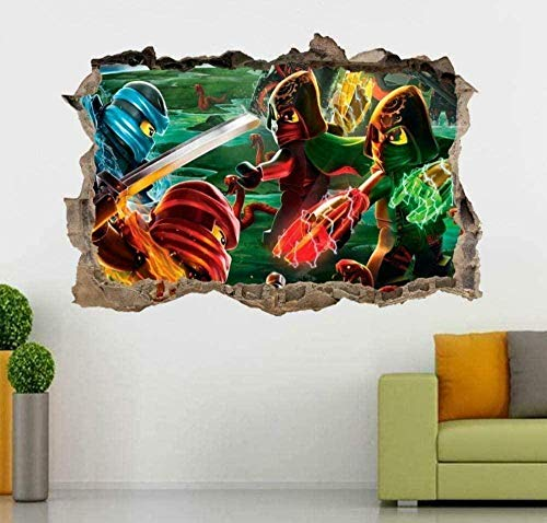 WARMBERL 3D-Look Wandtattoo Ninjago 3D Smashed Wandtattoo Aufkleber Home Decor Art Wandbild Kinder