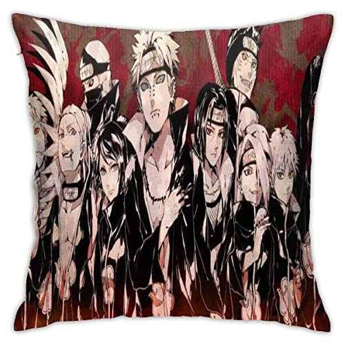 hongze Naru-to AkatsukiThrow Pillows Covers Pillow Case Modern Cushion Cover Square Pillowcase Decoration-for Sofa Bed Chair Car 18 x 18 Inch Double-Sided Printing
