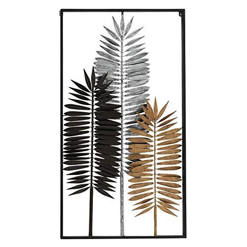 CasaJame 3D Wandbild Palmenblätter, Wandobjekt Blätter schwarz Silber Gold, Wanddeko Metall mit Rahmen 102x56x3,5cm