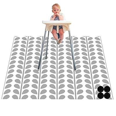 Paw Legend Washable Highchair Splat Floor Mat- Anti-Slip Silicone Spot Splash Mess Mat(53'' X 53'')-Food Catcher Art Craft Leak-Free Mat,Leaf